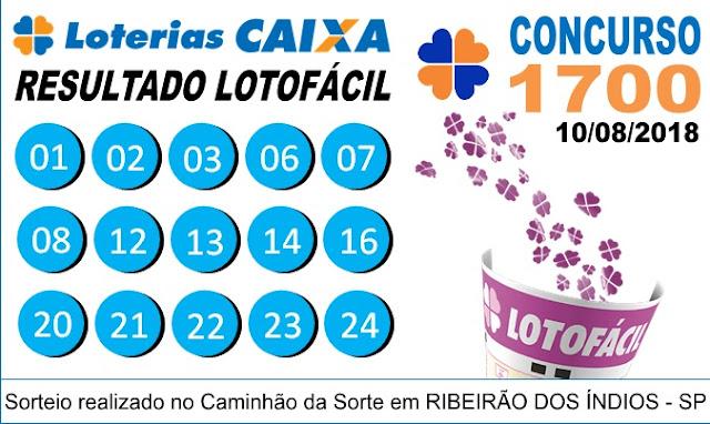 Resultado da Lotofácil concurso 1700 - 10/08/2018 (Imagem: Montagem/Informe Notícias)