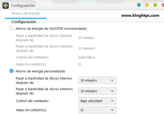 CONFIGURACIÓN ENERGIA ASUSTOR ADM 3.5