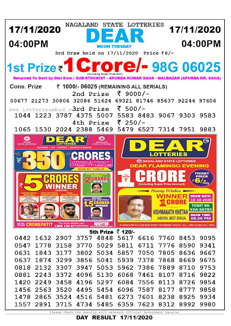 Lottery Sambad 17-11-2020 Today Results 4:00 pm, Nagaland State Lottery Sambad Today Result 4 pm, Sambad Lottery, Lottery Sambad Live Result Today