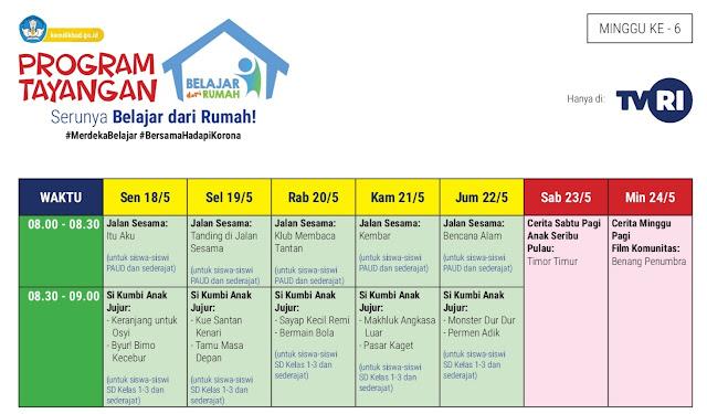 Program Bantuan Belajar Dari Rumah | Jadwal Tayangan Minggu Ke-6