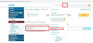 check competitor backlinks by using Moz Pro