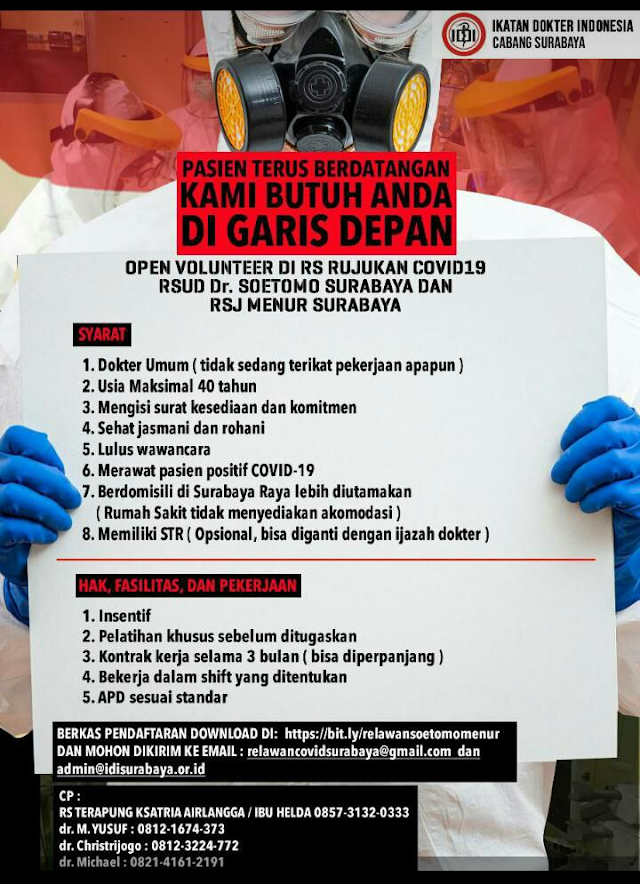 Open Volunteer di RS Rujukan Covid 19 RSUD Dr. Soetomo Surabaya dan RSJ Menur Surabaya