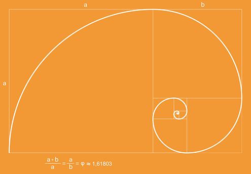 ilustracion de la espiral de fibonacci (fibonnaci sequence), sucesión de fibonacci, secuencia de fibonacci, o también llamada espiral dorada, en la que se incluye la formula matemática con el numero de oro; todo ello con fondo de color naranja