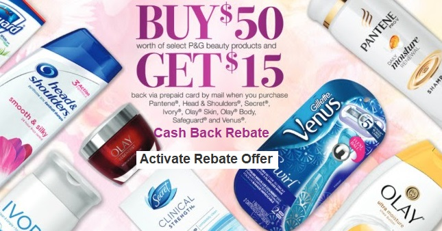 Save $15 off $50 PG Beauty Products Cash Back Offer