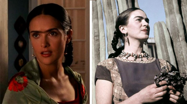 Frida Kahlo (Salma Hayak) e ao lado foto real