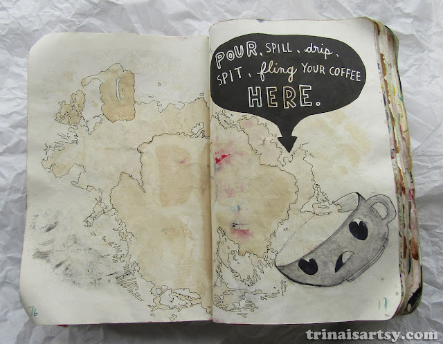 Wreck this Journal - Pour Coffee Here featuring a scared tea cup!