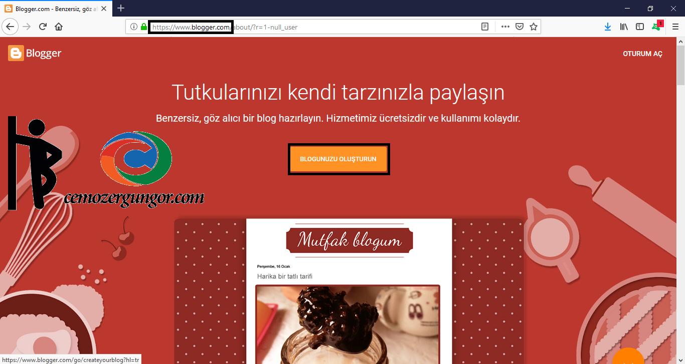 ücretsiz blog acmak blogger