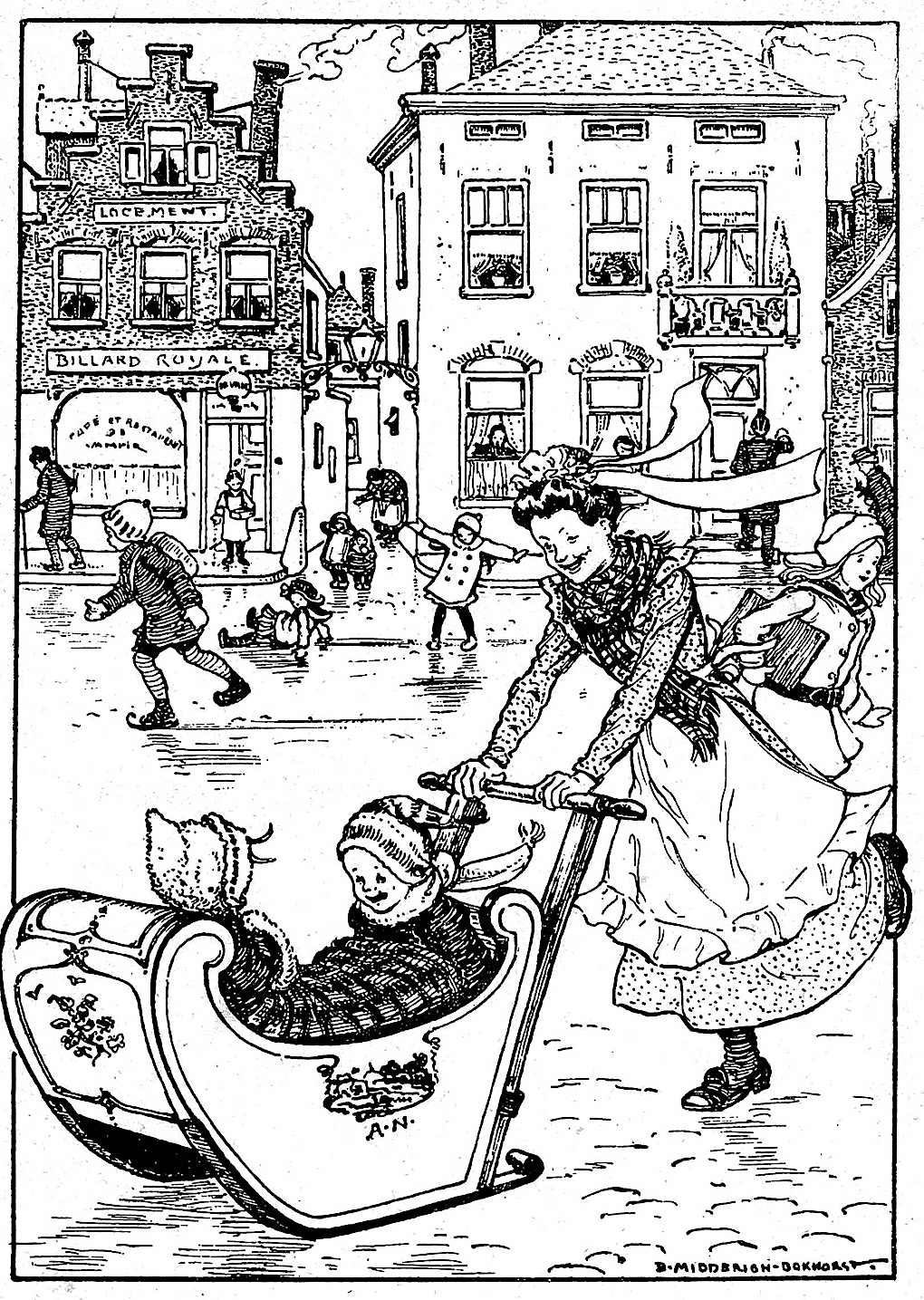 1915 Netherlands winter fun on icy streets, an illustration