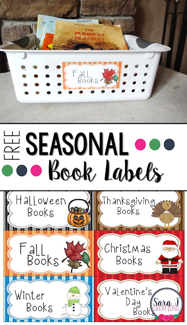 Free Seasonal book labels to keep your holiday books organized