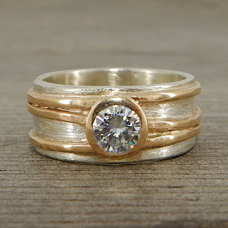 moissanite two tone wide band ring