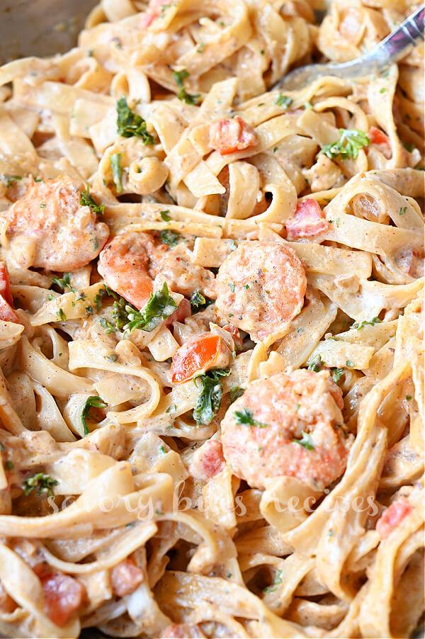 delicious creamy Cajun  shrimp pasta