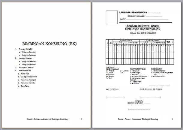 Contoh Format Administrasi Bk Bimbingan Konseling Berkas Edukasi