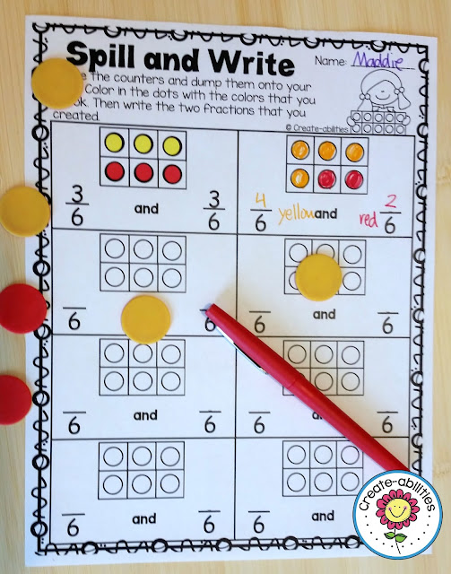Spill and Write Fraction Game