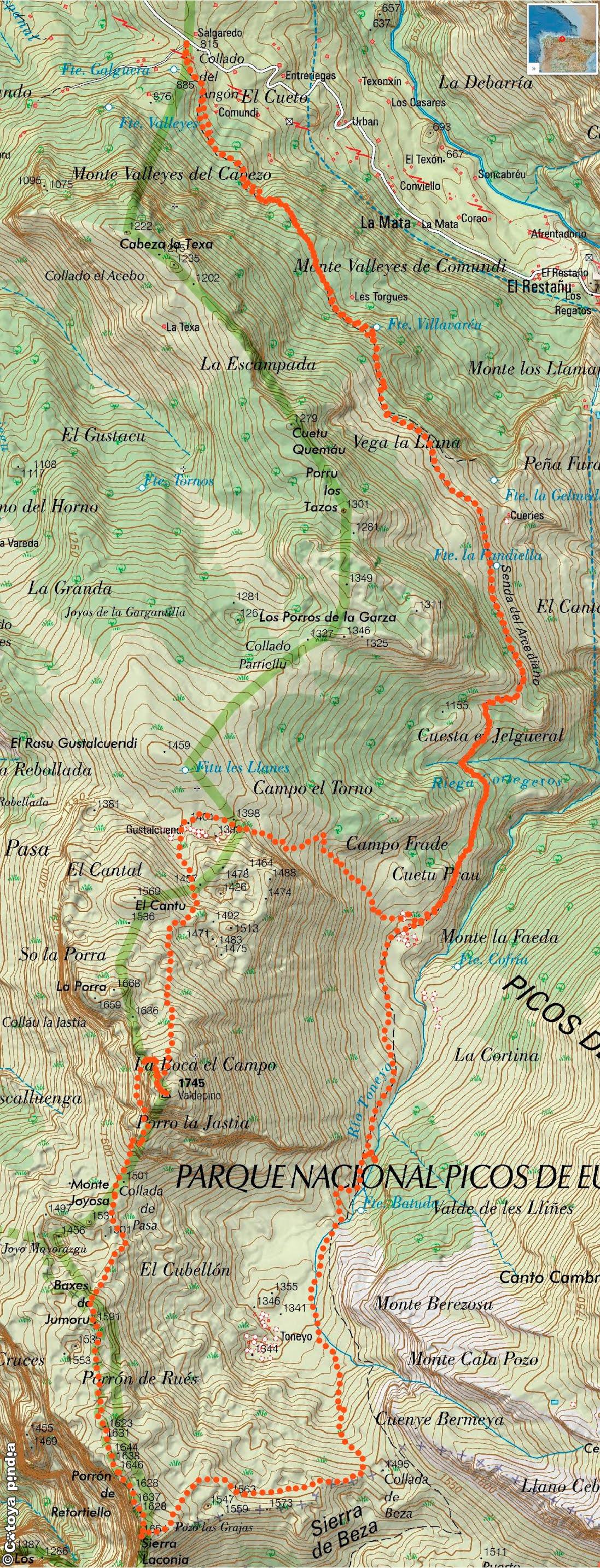 Mapa IGN de la ruta a la Porra de Valdepino y La Conia por la Senda del Arcediano