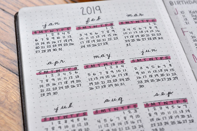2019-Year-at-a-Glance-Bullet-Journal-Spread-tasteasyougo.com