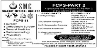 Jobs for Doctors at Sialkot Medical College (SMC) - 2021