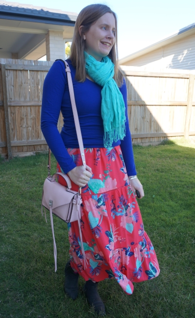 Kmart floral maxi dress layered with cobalt long sleeve tee turquoise scarf ankle boots Darren bag | awayfromblue