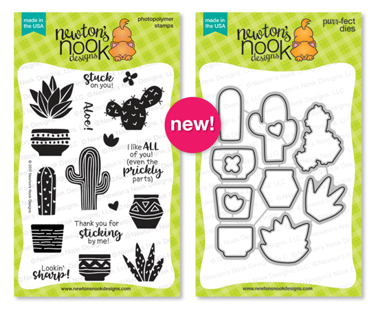Cultivated Cacti | 4x6 Cactus stamp set and die set by Newton's Nook Designs #newotnsnook