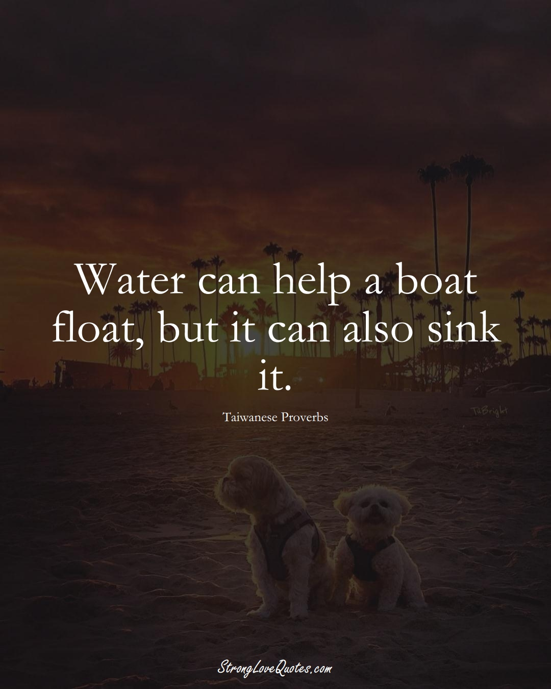 Water can help a boat float, but it can also sink it. (Taiwanese Sayings);  #AsianSayings