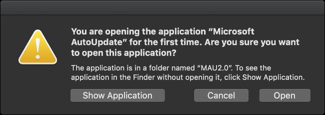 قم بتشغيل تطبيق Microsoft AutoUpdate