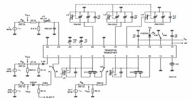 AM/FM Radio Receiver Circuit using TEA5710 Bimos IC