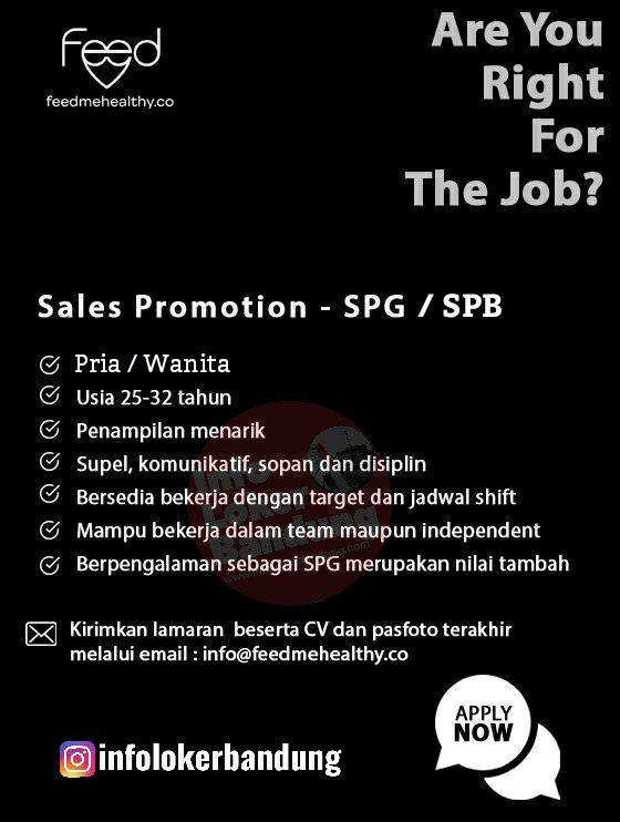 Lowongan Kerja SPG SPB Feedmehealthy Bandung Desember 2019