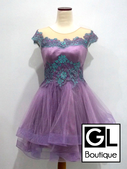 Model Dress Pesta Brokat Lengan Pendek Modern Terbaru