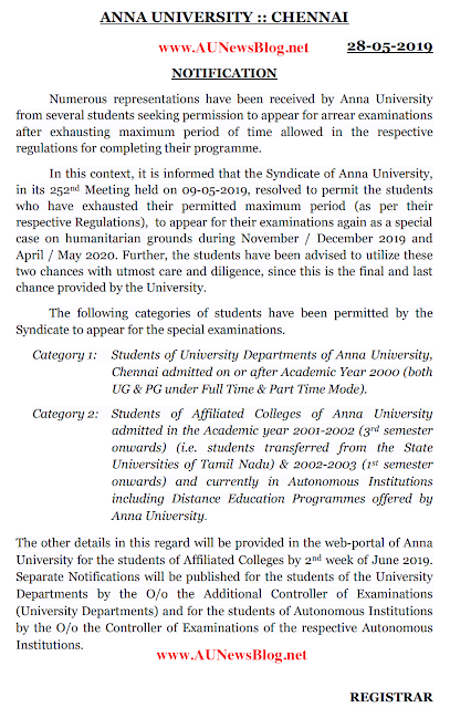 Anna University Special Exam Nov/Dec 2019 & April/May 2020 official Notification