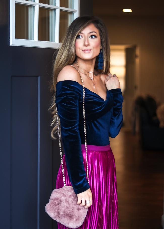 goodnight macaroon wrap off the shoulder velvet top with chenille midi skirt