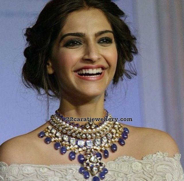 Sonam Kapoor Kundan Set with Sapphire Drops