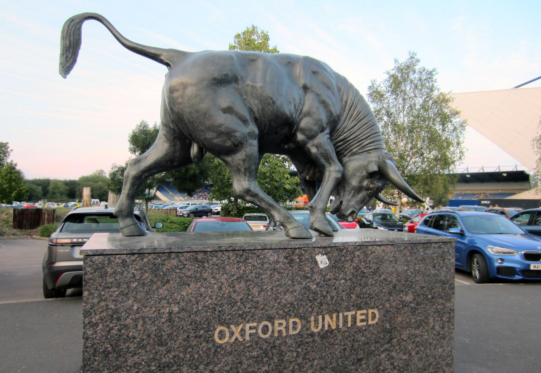 Statue of a bull outside The Kassam Stadium