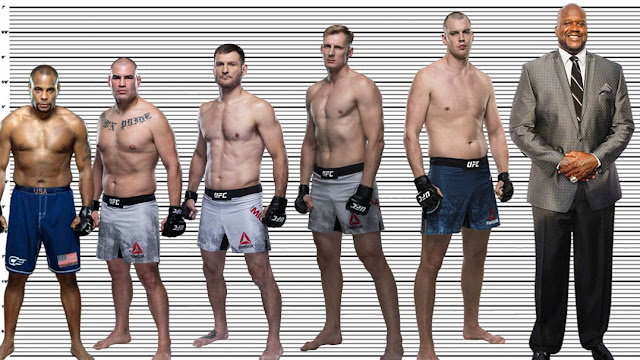 "Alexander Volkov with Daniel Cormier (5'10""), Cain Velasquez (6""), Stipe Miocic (6'3.5""), Stefan Struve (6'11"") and Shaquille O'Neal (7'1)"