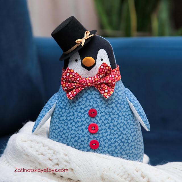 Пингвин игрушка сделан своими руками по оригинальной выкройке в натуральную величину