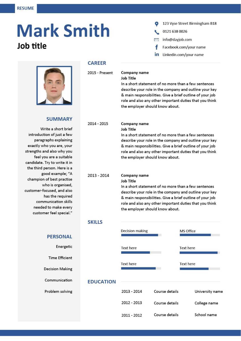 HR manager CV template - Avari Point