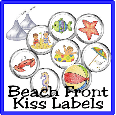 Enjoy a little bit of beach fun and chocolate with these printable kiss labels perfect for a beach party or a lazy day relaxing.