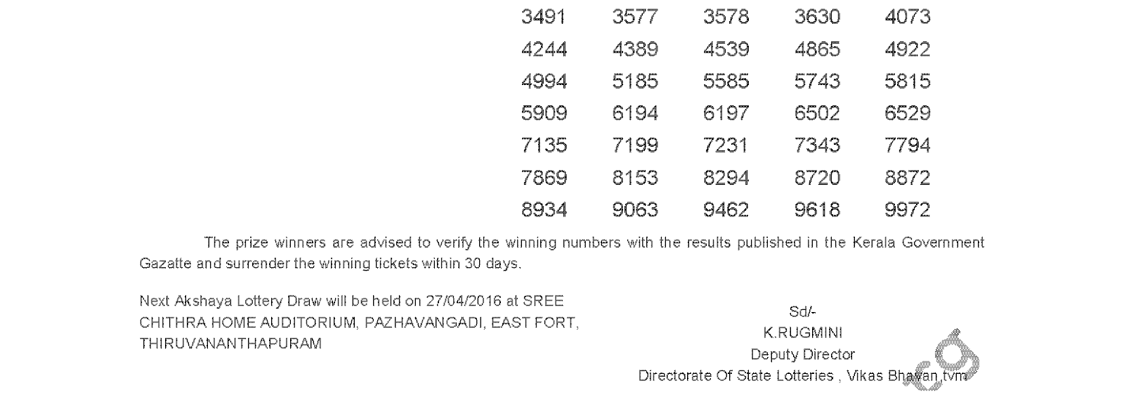 AKSHAYA Lottery DS 233 Result 20-4-2016