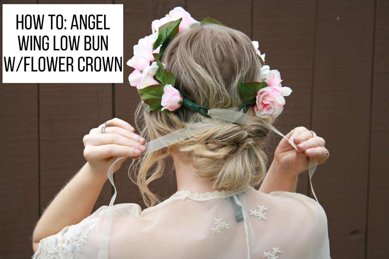 Bg by christina beauty how to angel wing low bun w flower crown beauty how to angel wing low bun w flower crown tips on pulling off a flower crown izmirmasajfo
