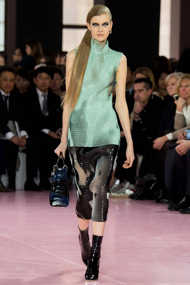 Christian Dior 2015 AW RTW Aqua Laser-Cut Patent Leather Top on Runway