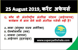 Daily Current Affairs Quiz 25 August 2019 in Hindi
