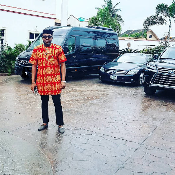 E-money finally rocks Igbo attire, shows off his expensive rides