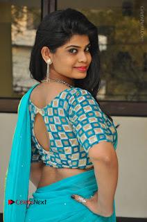 Telugu Actress Alekhya Stills in Green Saree at Swachh Hyderabad Cricket Press Meet  0017.JPG