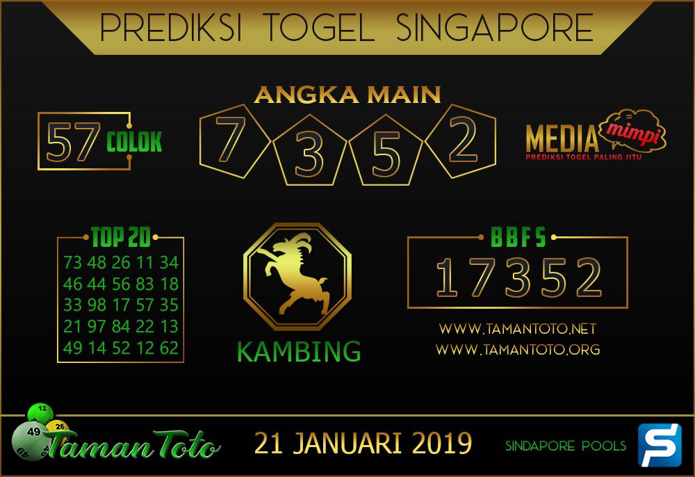 Prediksi Togel SINGAPORE TAMAN TOTO 21 JANUARI 2019