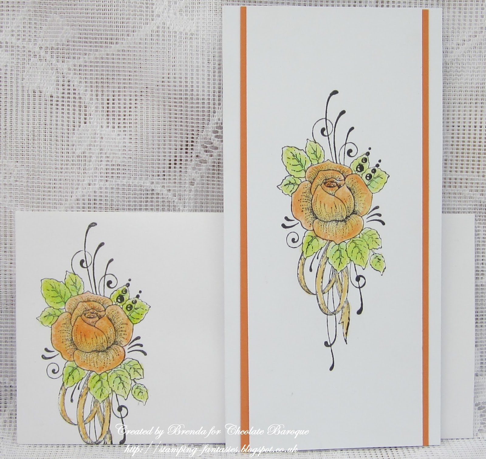 58c6c8d93 A fairly simple DL card and matching envelope. The beautiful Rose from Rose  Duo was stamped onto both with Versafine black and coloured in with pencils  and ...