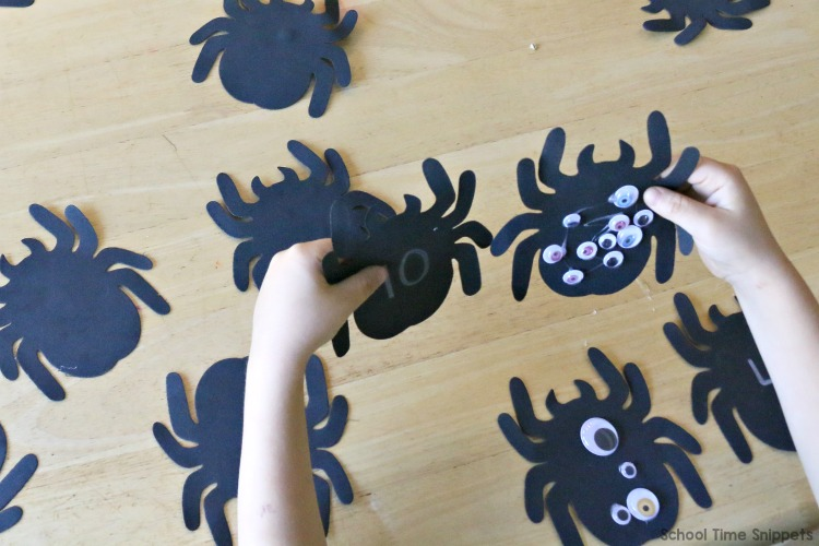 spider activity number matching game