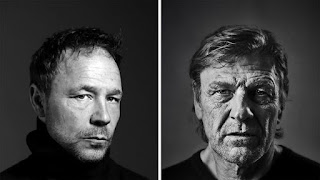 Black and white individual headshots of Stephen Graham on the left and Sean Bean on the right