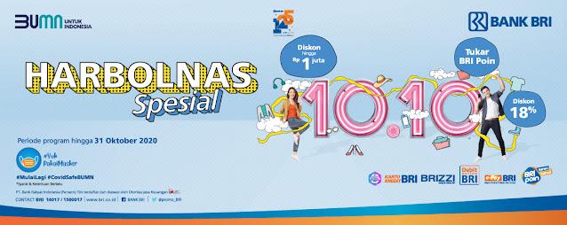 #BankBRI - PROMO HARBOLNAS SPECIAL 10.10 Beragam Diskon & Potongan Harga (s.d 31 Okt 2020)