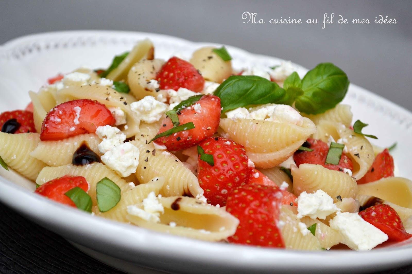 salade de p 226 tes conchiglie aux fraises 224 la feta et basilic blogs de cuisine