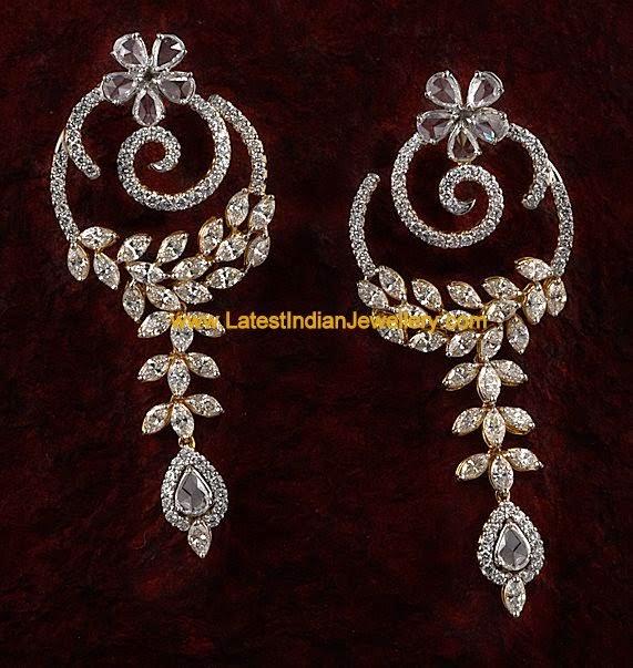 Unique Party Wear Diamond Earrings Latest Indian Jewellery Designs