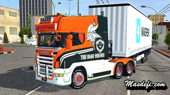 mod truck scania r580 trailer muat peti kemas