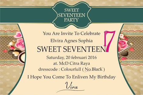 Contoh Undangan Ulang Tahun CONTOH SURAT - Contoh invitation card sweet seventeen birthday party